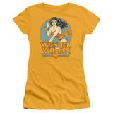 Wonder Woman Junior Women's Sheer Original T-Shirt Gold