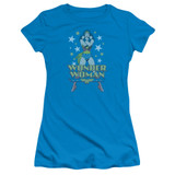 Wonder Woman A Wonder Junior Women's Sheer Original T-Shirt Turquoise