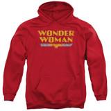 Wonder Woman Logo Adult Pullover Hoodie Original Sweatshirt Red