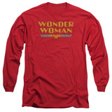 Wonder Woman Logo Adult Long Sleeve Original Classic T-Shirt Red