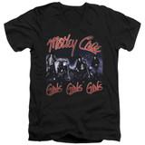 Motley Crue Girls Adult V-Neck Classic T-Shirt Black