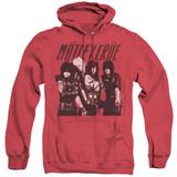 Motley Crue Group Adult Heather Hoodie Sweatshirt Red