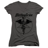 Motley Crue Dr Devil Junior Women's V-Neck Classic T-Shirt Charcoal