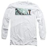 Rocky Cutout Logo Adult Long Sleeve Classic T-Shirt White