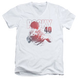 Rocky 40 Years Strong Adult V-Neck Classic T-Shirt White
