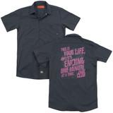 Fight Club Life Ending (Back Print) Adult Work Shirt Charcoal