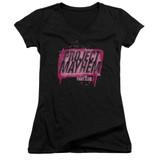 Fight Club Project Mayhem Junior Women's V-Neck Classic T-Shirt Black