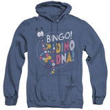 Jurassic Park Bingo Dino DNA Adult Heather Hoodie Sweatshirt Royal Blue