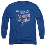 Jurassic Park Bingo Dino DNA Adult Long Sleeve T-Shirt Royal Blue