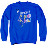 Jurassic Park Bingo Dino DNA Adult Crewneck Sweatshirt Royal Blue