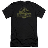 Jurassic Park Distressed Logo Adult 30/1 T-Shirt Black