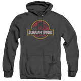 Jurassic Park 8-Bit Logo Adult Heather Hoodie Sweatshirt Black