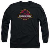 Jurassic Park 8-Bit Logo Adult Long Sleeve T-Shirt Black