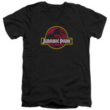 Jurassic Park 8-Bit Logo Adult V-Neck T-Shirt Black
