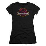 Jurassic Park 8-Bit Logo Junior Women's Sheer T-Shirt Black