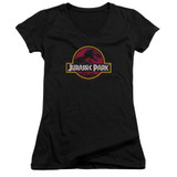 Jurassic Park 8-Bit Logo Junior Women's V-Neck T-Shirt Black