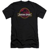 Jurassic Park 8-Bit Logo Premium Adult 30/1 T-Shirt Black
