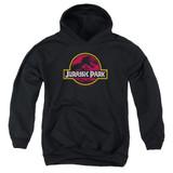 Jurassic Park 8-Bit Logo Youth Pullover Hoodie Sweatshirt Black