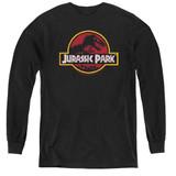Jurassic Park 8-Bit Logo Youth Long Sleeve T-Shirt Black