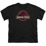 Jurassic Park 8-Bit Logo Youth T-Shirt Black