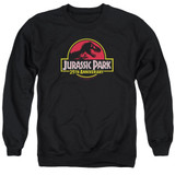 Jurassic Park 25th Anniversary Logo Adult Crewneck Sweatshirt Black