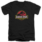 Jurassic Park 25th Anniversary Logo Adult V-Neck T-Shirt Black