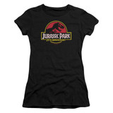 Jurassic Park 25th Anniversary Logo Junior Women's Sheer T-Shirt Black