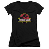 Jurassic Park 25th Anniversary Logo Junior Women's V-Neck T-Shirt Black
