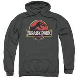 Jurassic Park Stone Logo Adult Pullover Hoodie Sweatshirt Charcoal