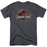 Jurassic Park Stone Logo Adult 18/1 T-Shirt Charcoal