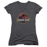 Jurassic Park Stone Logo Junior Women's V-Neck T-Shirt Charcoal
