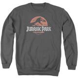 Jurassic Park Faded Logo Adult Crewneck Sweatshirt Charcoal