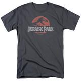 Jurassic Park Faded Logo Adult 18/1 T-Shirt Charcoal