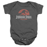 Jurassic Park Faded Logo Baby Onesie T-Shirt Charcoal