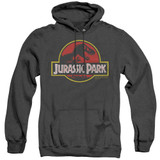 Jurassic Park Classic Logo Adult Heather Hoodie Sweatshirt Black