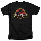 Jurassic Park Classic Logo Adult 18/1 T-Shirt Black
