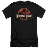 Jurassic Park Classic Logo Adult 30/1 T-Shirt Black
