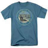 Parks and Recreation Distressed Pawnee Seal Adult 18/1 T-Shirt Slate