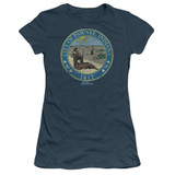 Parks and Recreation Distressed Pawnee Seal Junior Women's Sheer T-Shirt Indigo