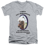 Parks and Recreation Lil Sebastian Adult V-Neck T-Shirt Athletic Heather