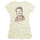 Parks and Recreation Rich Women Junior Women's Sheer T-Shirt Cream