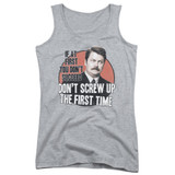 Parks and Recreation Don't Screw Up Junior Women's Tank Top T-Shirt Athletic Heather