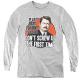 Parks and Recreation Don't Screw Up Youth Long Sleeve T-Shirt Athletic Heather