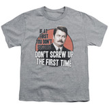 Parks and Recreation Don't Screw Up Youth T-Shirt Athletic Heather