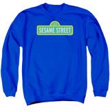 Sesame Street Logo Adult Crewneck Sweatshirt Royal Blue