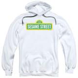 Sesame Street Logo Adult Pullover Hoodie Sweatshirt White
