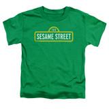 Sesame Street Rough Logo Toddler T-Shirt Kelly Green