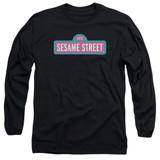 Sesame Street Alt Logo Adult Long Sleeve T-Shirt Black