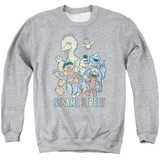 Sesame Street Colorful Group Adult Crewneck Sweatshirt Athletic Heather