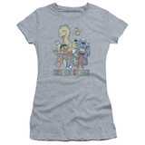 Sesame Street Colorful Group Junior Women's Sheer T-Shirt Athletic Heather